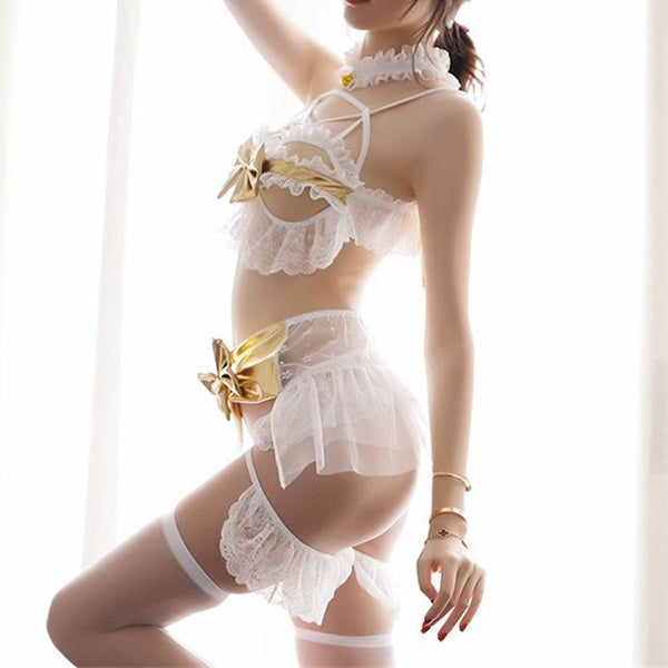 Valentine White Lace Ruffle Bow Winged Lingerie SD00743
