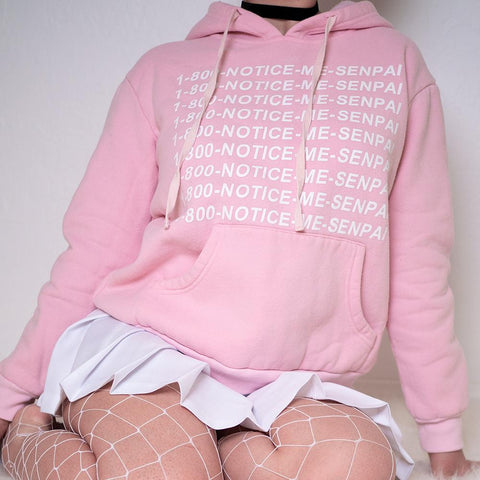 1 800 Senpai Notice Me Pink Hoodie Sweater SD00505 - SYNDROME - Cute Kawaii Harajuku Street Fashion Store