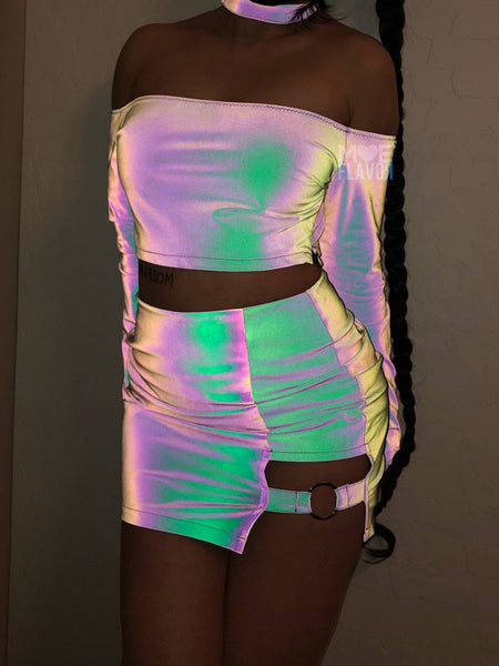 Pre-Sale Reflective Rainbow Collar Top Ring Strap Skirt Set MF01006