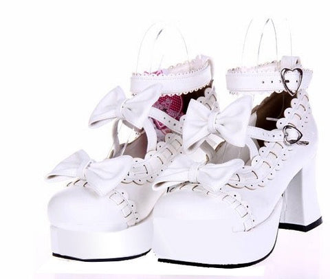Dolly Japanese Harajuku Lolita Bow Lace High-Heeled Shoes SD00198
