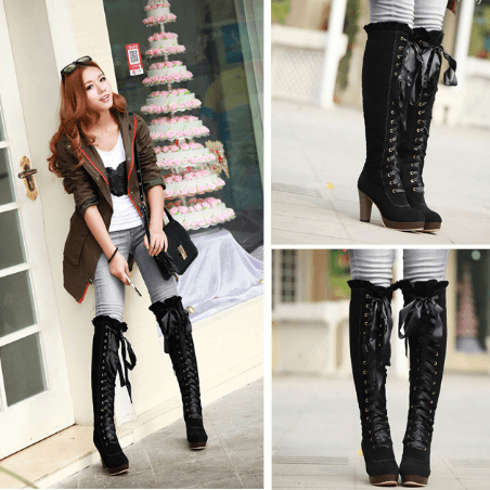Korean sweet lace high boots SD00631