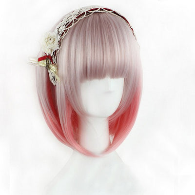 Gradient Light Pink Short Wig SD00262 - SYNDROME - Cute Kawaii Harajuku Street Fashion Store