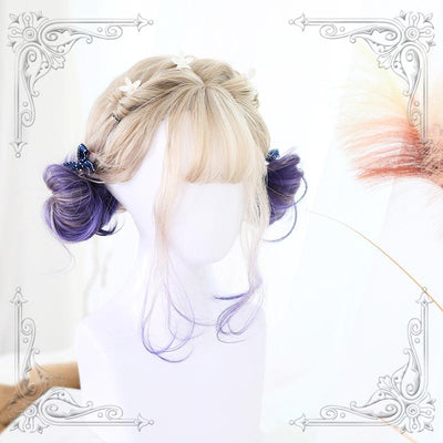 Blonde Purple Short Wig SD01047 - SYNDROME - Cute Kawaii Harajuku Street Fashion Store