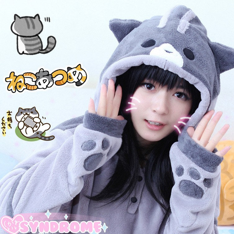 Neko Atsume Kawaii Kitty Cat Ears Hoodie Sweater SD00457