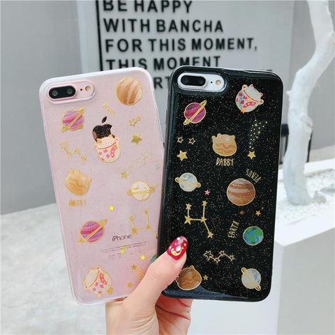Cat Planet Glitter Phone Case SD00825 - SYNDROME - Cute Kawaii Harajuku Street Fashion Store