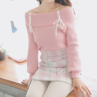Cross Strings Pink Shoulder-less Sweater SD00279 - SYNDROME - Cute Kawaii Harajuku Street Fashion Store