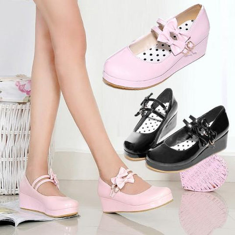 Harajuku Japanese Cute 2 Strap Bow Short Platform Heel Shoes SD01998