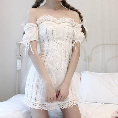 White Flower Lace Shoulder-less Dress SD00096 - SYNDROME - Cute Kawaii Harajuku Street Fashion Store