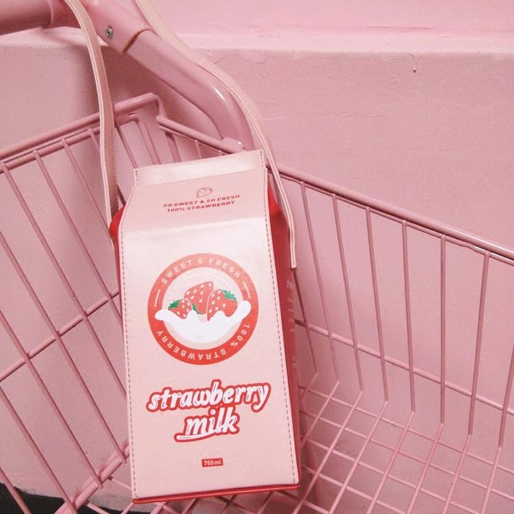Japanese Harajuku Pastel Pink Strawberry Milk Carton Bag SD01790