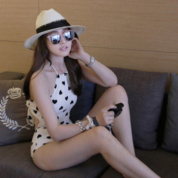 White and Black Heart Pattern Swimsuit SD00546 - SYNDROME - Cute Kawaii Harajuku Street Fashion Store
