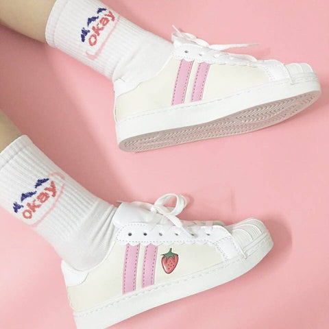 Kawaii Pink/blue strawberry sneaker shoes SD00616