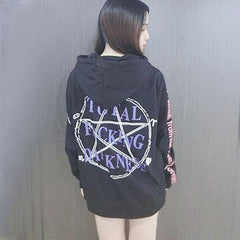 Printed Total F*cking Darkness Thick Velvet Hooded Harajuku Sweater SD01793