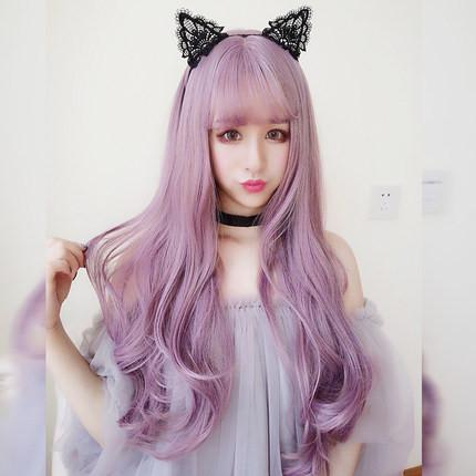 Harajuku Wave Long Purple Wig SD00636