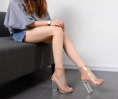 Clear Transparent Open Toe Chunky High Heel Boots SD00136 - SYNDROME - Cute Kawaii Harajuku Street Fashion Store