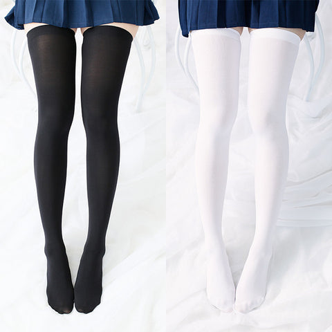 Japanese School Girls Black/White Knee Socks Tights SD02388