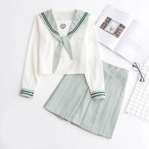 Japanese Mint Green Short/Long Sleeve School Uniform+Skirt [S/XXL] SD00203