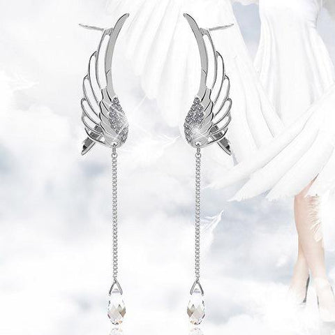 Japanese Harajuku Angel Wing Crystal Earrings SD02371
