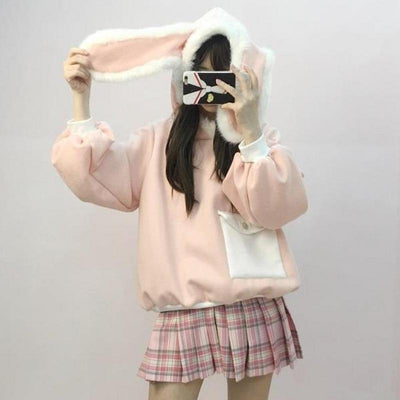 Pink Fluffy Bunny Ears Hoodie Sweater SD00235 - SYNDROME - Cute Kawaii Harajuku Street Fashion Store