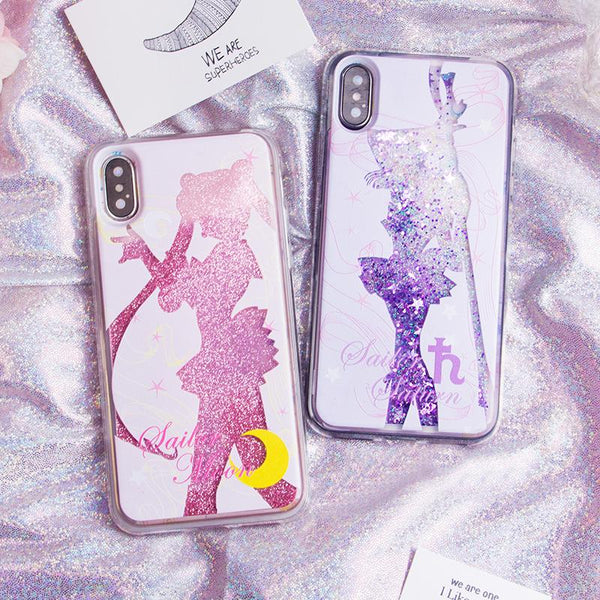 Sailor Moon Chibi Moon Saturn Usagi Liquid Glitter Stars Phone Case SD1821 - SYNDROME - Cute Kawaii Harajuku Street Fashion Store
