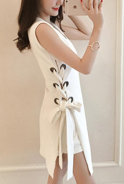 Side Ribbon Sleeves Dress SD00150