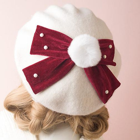 Red Bow Fur Ball Beret SD00330