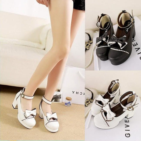 Elegant Lolita Bow Strap High-Heel Shoes SD00250 - SYNDROME - Cute Kawaii Harajuku Street Fashion Store