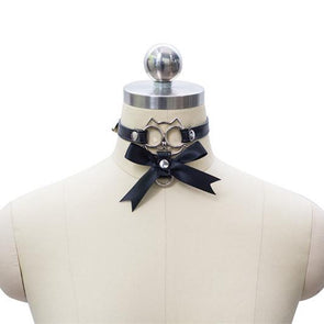Harajuku Japanese Cat Face Bowknot Collar Choker SD02094