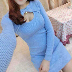 Sweater Dress Bow Keyhole Pearl Hollow Chest Dress SD00736