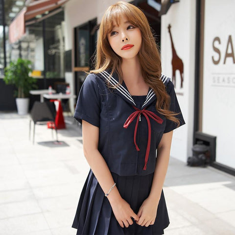 Japanese Navy Blue Red Ribbon Bow Sailor School Uniform Set SD01976