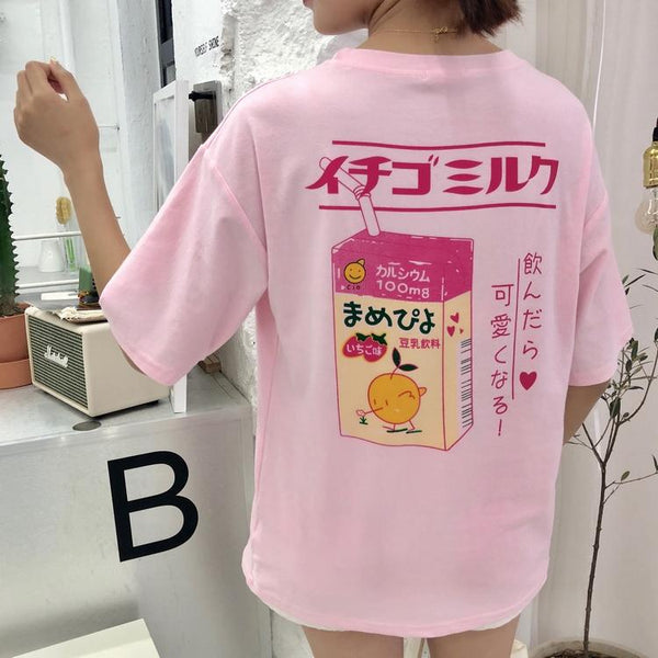 Japanese Strawberry Milk Drink T-shirt SD01435