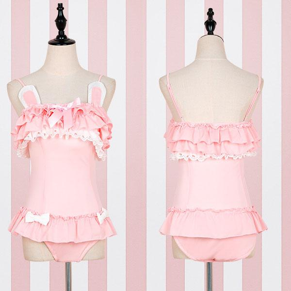 Ruffle Pink Bunny Swimsuit SD01843