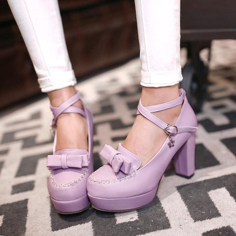 Japanese lolita dolly princess strap bow high heel shoes SD00238 - SYNDROME - Cute Kawaii Harajuku Street Fashion Store
