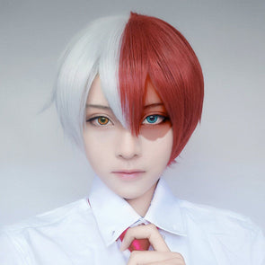My Hero Academia Shoto Todoroki White Red Short Wig SD01600