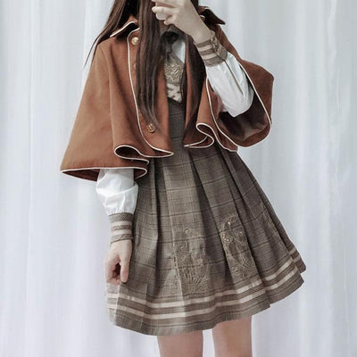 Detective Academy Embroidered Plaid Dress + Woolen Cloak SD00372 - SYNDROME - Cute Kawaii Harajuku Street Fashion Store