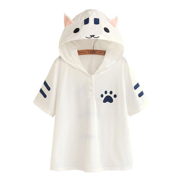 Japanese Kawaii Neko Hoodie T-shirt SD00979 - SYNDROME - Cute Kawaii Harajuku Street Fashion Store