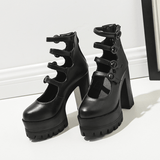 Black 4 Buckle Strap High-Heels Shoes SD00156 - SYNDROME - Cute Kawaii Harajuku Street Fashion Store