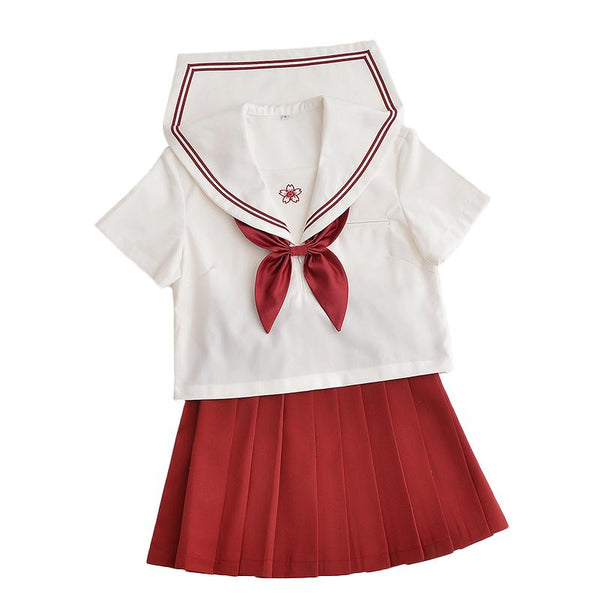 Japanese red sailor flower embroidered school uniform t-shirt/skirt SD00840 - SYNDROME - Cute Kawaii Harajuku Street Fashion Store