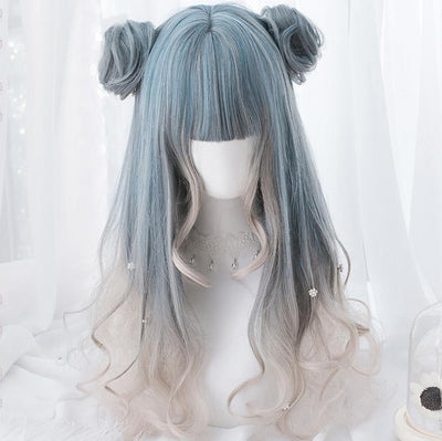 Blue Grey White Gradient Long Wig SD00200 - SYNDROME - Cute Kawaii Harajuku Street Fashion Store