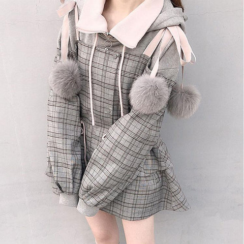 Pleated Shoulder-less Fur Balls Coat SD00725 - SYNDROME - Cute Kawaii Harajuku Street Fashion Store