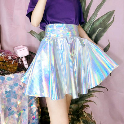 Holographic Laser High Waist Skirt SD00882 - SYNDROME - Cute Kawaii Harajuku Street Fashion Store