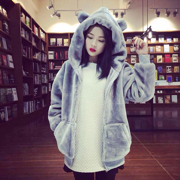 Bear Fluffy Hoodie Coat SD00893 - SYNDROME - Cute Kawaii Harajuku Street Fashion Store