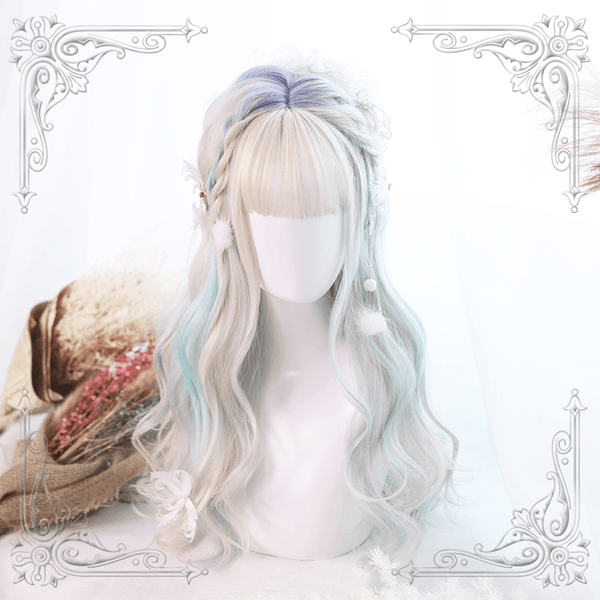 Colorful Candy Pastel Purple Blue White Wave Long Wig SD00209 - SYNDROME - Cute Kawaii Harajuku Street Fashion Store