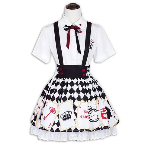 Japanese Harajuku Alice In The Wonderland Embroidered Shirt Poker Card Printed Strap Dress SD02085