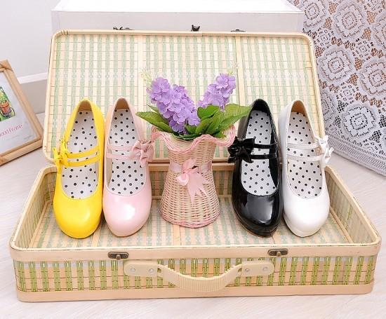 Harajuku Japanese Cute 2 Strap Bow Short Platform Heel Shoes SD01998 - SYNDROME - Cute Kawaii Harajuku Street Fashion Store