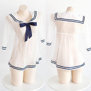 Japanese Harajuku Sexy Transparent Sheer Sailor Dress Uniform Lingerie SD01096