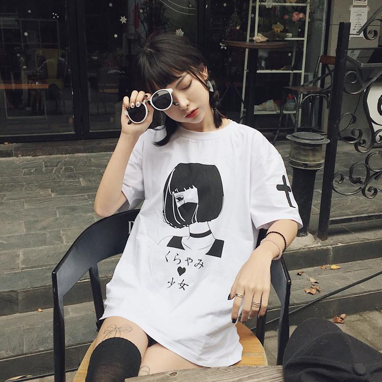 Girl Mouth Mask Printed Long T-shirt SD01774 - SYNDROME - Cute Kawaii Harajuku Street Fashion Store