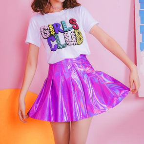 Purple/Silver Metallic Laser High Waist Skirt SD01930