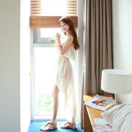 Korean summer Lotus leaf chiffon skirt beach dress SD02478