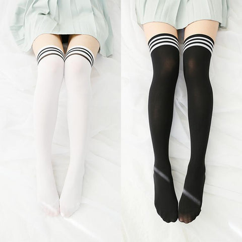Striped Casual School Thigh High Tights Socks SD00285
