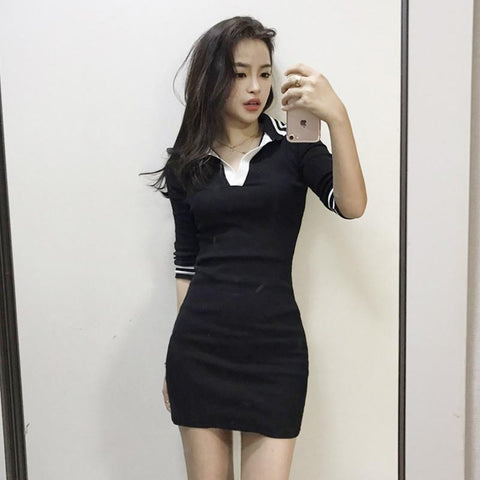 Korean summer striped black dress SD00945